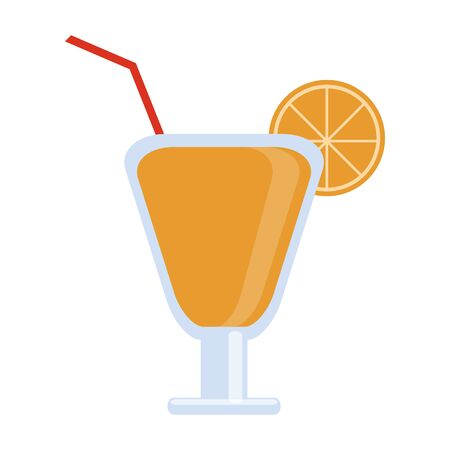 Cocktail with lemon and straw cup vector illustration graphic design
