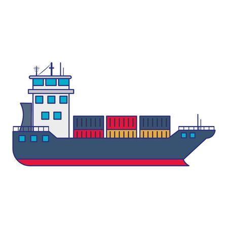 Freighter ship boat with containers vector illustration graphic design