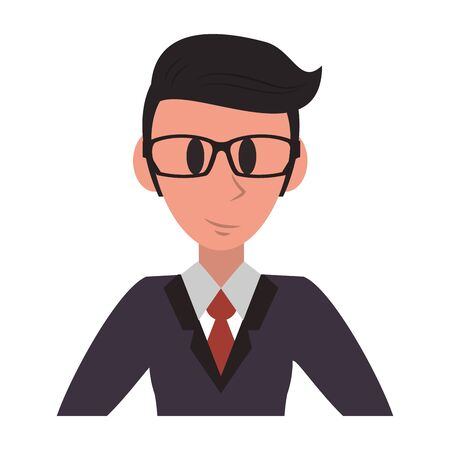 Executive businessman character with glasses profile cartoon vector illustration graphic design