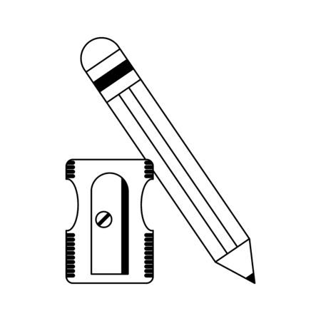 School utensils and supplies pencil and sharpener Designe Иллюстрация