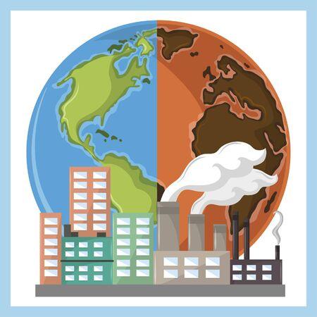 globe half desert and industry with smoke icon cartoon vector illustration graphic design