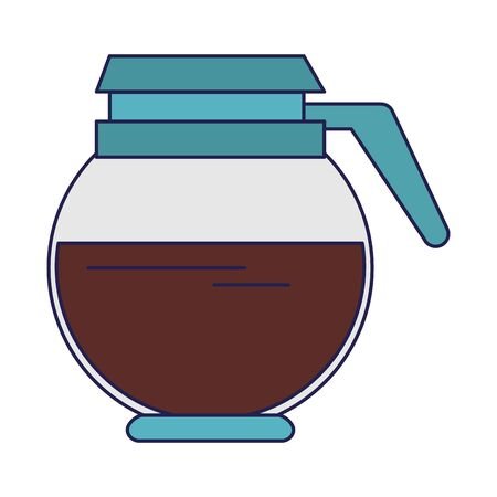 Coffee pot full hot drink or beverage with handle and lid isolated vector illustration graphic desing 일러스트