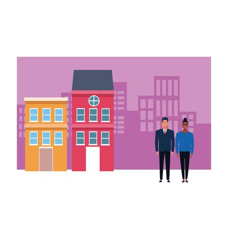 couple avatar cartoon character afroamerican girl and businessman with cityscape colorful buildings vector illustration graphic design Vecteurs