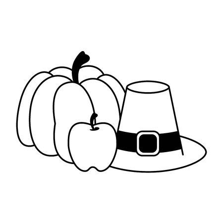 Thanksgiving day food pumpkin apple and vintage hat vector illustration graphic design