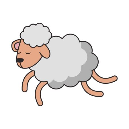Sheeping jumping cartoon isolated vector illustration graphic design Illustration