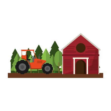Farm barn and tractor in nature scenery isolated vector illustration graphic design Ilustracja