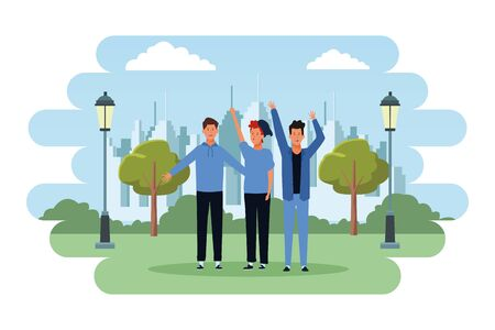 people avatars cartoon characters hands up open arms wearing hat  in the city park scenery
