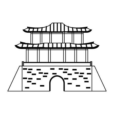 oriental palace icon cartoon isolated vector illustration graphic design