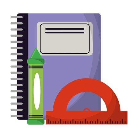 School utensils and supplies notebook and ruler with crayon Illustration