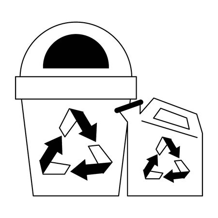 Reycle trash can and water can vector illustration graphic design