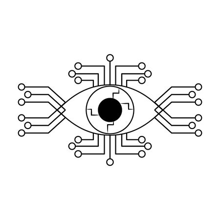 cyborg eye with eletronic circuit icon cartoon isolated vector illustration graphic design 스톡 콘텐츠 - 127106559