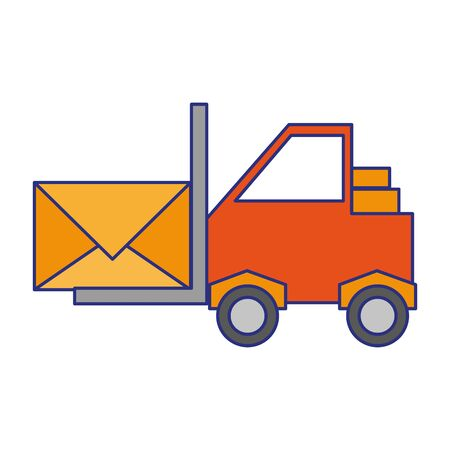 Forklift with envelope symbol cartoon vector illustration graphic design Ilustração