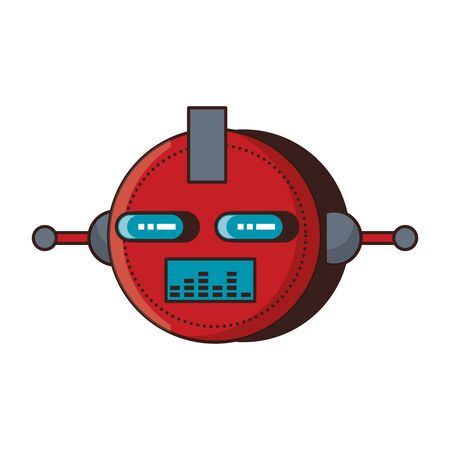 Robot funny character cartoon head isolated vector illustration graphic design Illustration