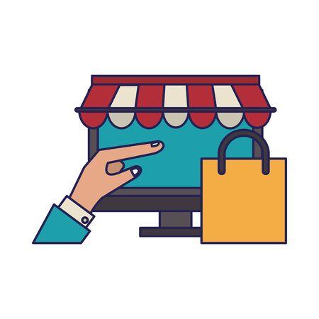 online shopping computer pc concept cartoon vector illustration graphic design Illustration
