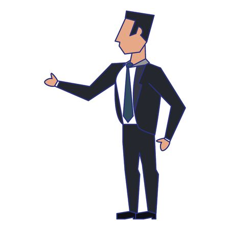 business man standing avatar cartoon character vector illustration graphic design