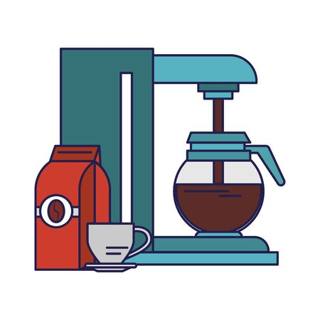 Coffee making machine with pot coffeeshop equipment bag and cup on plate vector illustration graphic desing Illustration