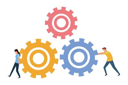 Coworkers couple pushing gears teamwork cartoon vector illustration graphic design