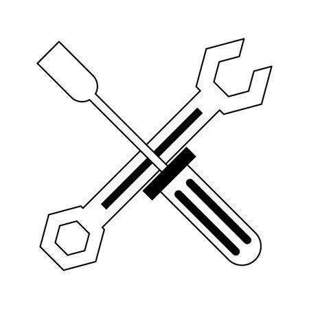Screwdriver and wrench crossed symbol vector illustration graphic design Stock Illustratie