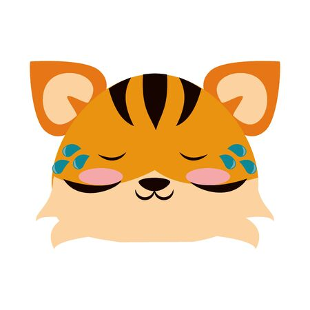 Cute tiger crying animal cartoon  vector illustration graphic design