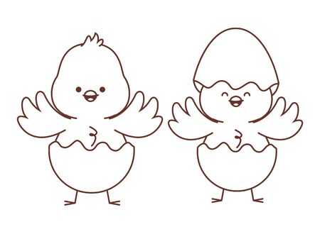 Happy  farm animals chicks pair wearing eggshell easter season drawing black and white outline vector illustration graphic design 矢量图像
