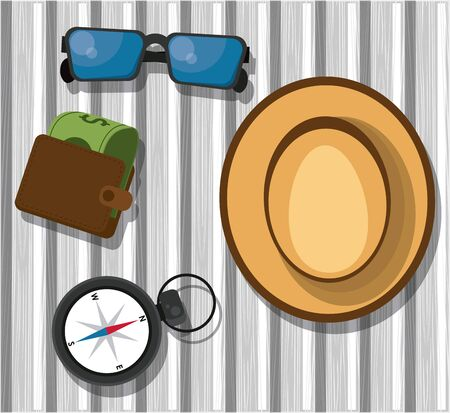 Travel and tourism elements sunglasses hatt compass and wallet on table vector illustration graphic design