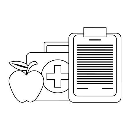 Board-Liste mit Symbolen für Apfel und medizinische Ausrüstung Vektor-Illustration-Grafik-Design