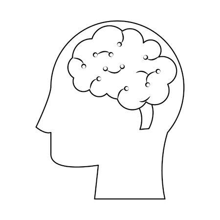 Silueta de cabeza humana con diseño gráfico del ejemplo del vector del símbolo del cerebro