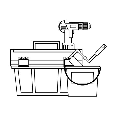 Construction tools toolbox and drill with paint bucket and rolling pin vector illustration graphic design 矢量图像
