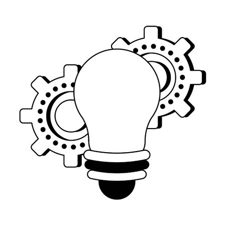 Bulb light and gears cartoons isolated vector illustration graphic design