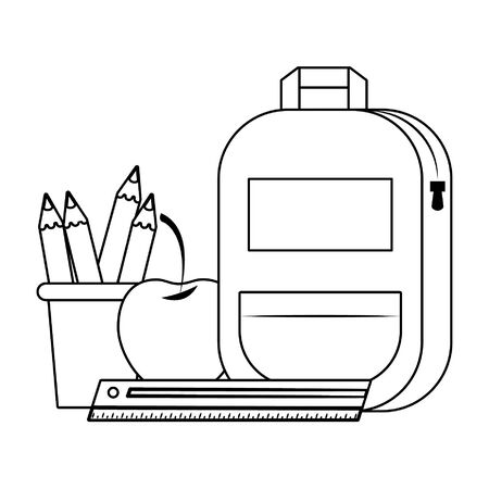 Back to school education backpack and apple with ruler and pencils in cups cartoons vector illustration graphic design Illustration