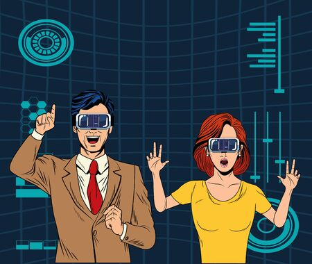 couple with virtual reality headset avatar cartoon character with mesh background and stadistical graphics vector illustration graphic design