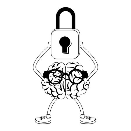 Cerveau avec des lunettes tenant un cadenas vector illustration graphic design