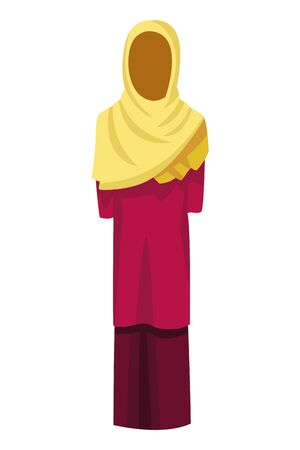 indian woman dress traditional hindu clothes sari with hiyab icon cartoon vector illustration graphic design