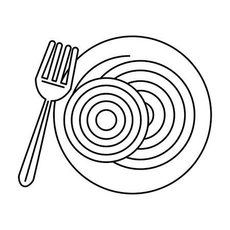 restaurant, nourriture et cuisine, spaguetti, sur, a, plaque, à, a, fourchette, icône, dessins animés, dans, noir blanc, vecteur, illustration graphique, conception
