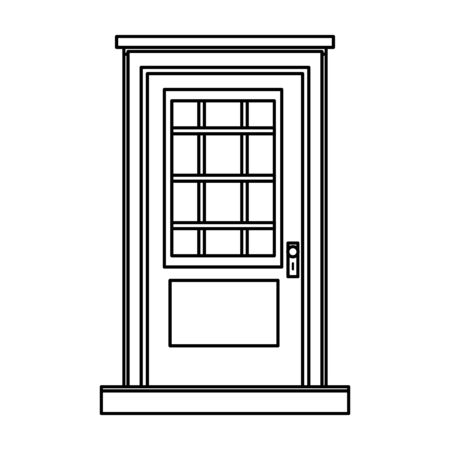 front door house entrace icon cartoon in black and white vector illustration graphic design Stock Illustratie