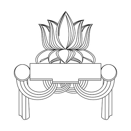 Indian patriotic lotus flower with blanl banner and flags vector illustration graphic design 일러스트