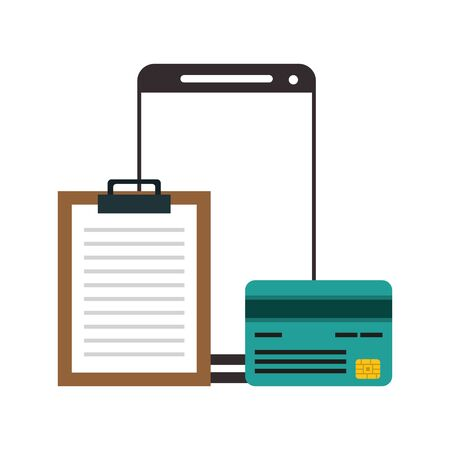 Smartphone and credit card with document clipboard symbol vector illustration graphic design