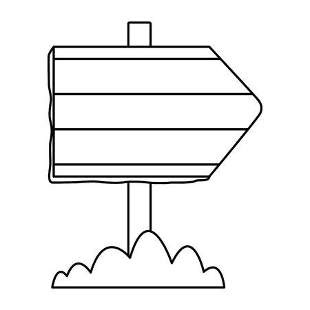 wooden empty sign and bush icon cartoon in black and white vector illustration graphic design Ilustração Vetorial