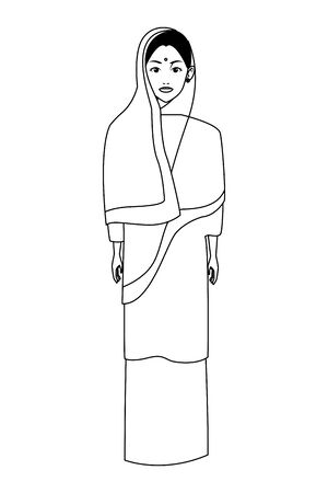 indian woman with hiyab wearing traditional hindu clothes profile picture avatar cartoon character portrait in black and white vector illustration graphic design 向量圖像