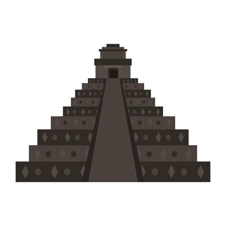 Mexican pyramid monument isolated desing