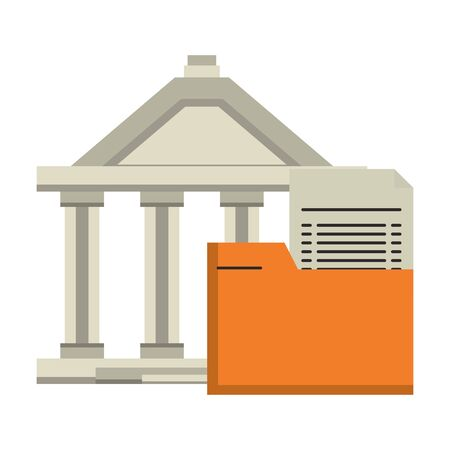 Bank building and folder document symbol vector illustration