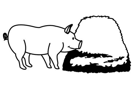 farm, animals and farmer pig with hay icon cartoon in black and white vector illustration graphic design