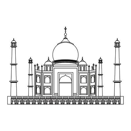 Taj mahal indian building symbol isolated vector illustration graphic design Çizim