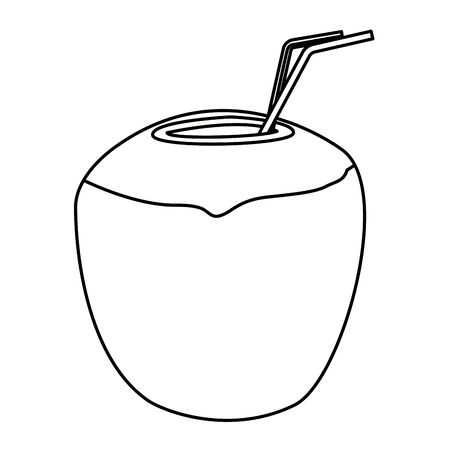 Coconut cocktail drink with straw vector illustration graphic design Illusztráció