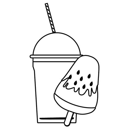 delicious ice cream icon cartoon and frozen ice shaved icon cartoon  in black and white vector illustration graphic design Illustration