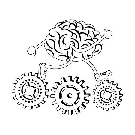 Brain running with shoes on gears cartoons vector illustration graphic design