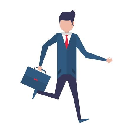 executive business finance man wearing suit and holding suitcase cartoon vector illustration graphic design Ilustracja