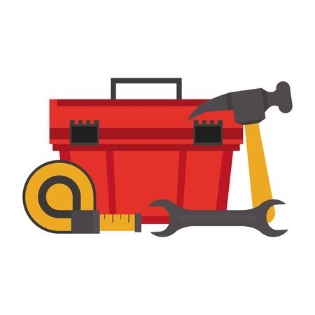 Construction tools toolbox and hammer with wrench and measurement tape vector illustration graphic design
