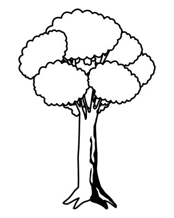 leafy and black and white tree icon with purple foliange isolated cartoon vector illustration graphic design 向量圖像