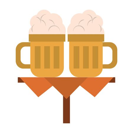 beverage liqueur and drink beer over table icon cartoons vector illustration graphic design  イラスト・ベクター素材